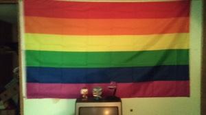 LGBT pride flag hanging in Jed Ziggler's bedroom